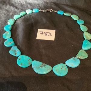 Flat Turquoise Stone Necklace